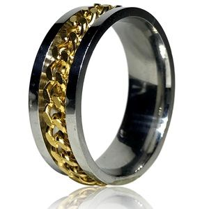 Punk Rock Spinner Yellow Woven Chain Ring